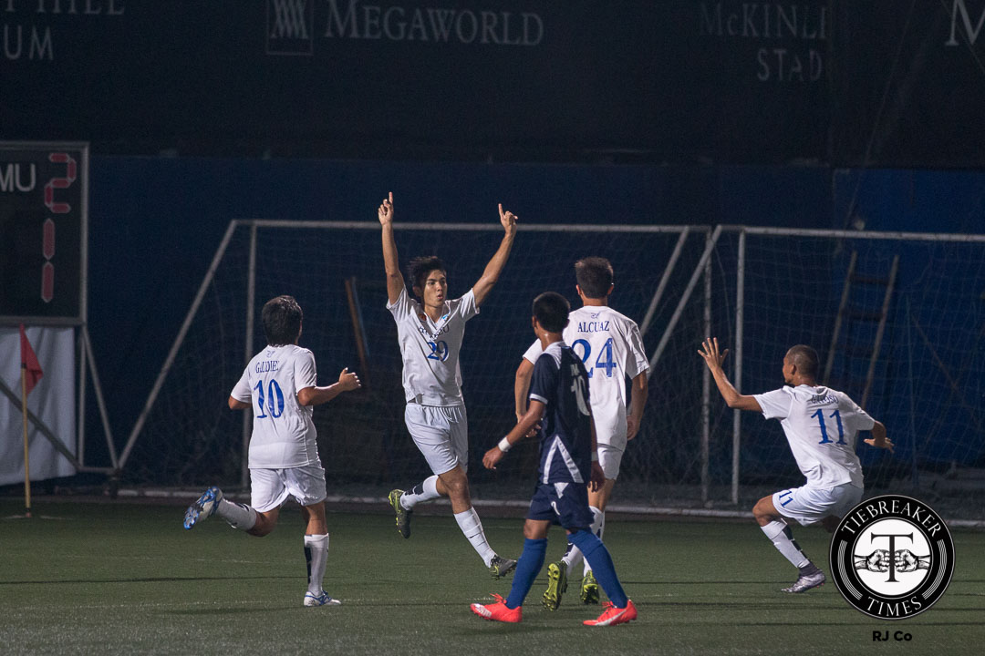 Tiebreaker Times Second half goals propel Ateneo over Adamson for first win in Season 78 ADMU AdU Football News UAAP  Xavier Alcuaz UAAP Season 78 Football Tournament UAAP Season 78 Mikko Mabanag Masyu Youshioka Kenneth James JP Merida Jeremiah Rocha Jarvey Gayoso Jackson Ramos Carlo Liay Brian Jumo II Brian Jumo I Ateneo Blue Eagles ADMU Blue Eagles Adamson Soaring Falcons
