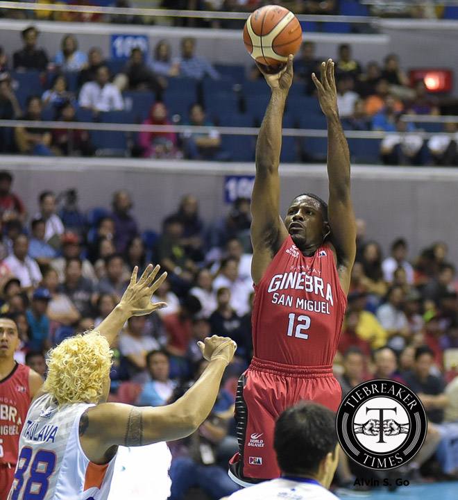 Philippine Sports News - Tiebreaker Times NSD: Jeffers overcomes physical encounter, back problems to help Ginebra Basketball News PBA  PBA Season 41 Othyus Jeffers Barangay Ginebra San Miguel 2016 PBA Commissioners Cup