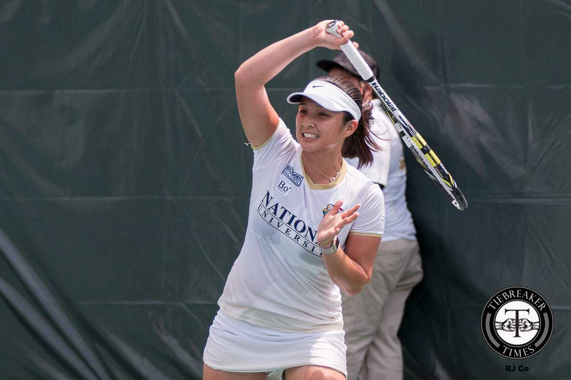 Tiebreaker Times Lady Bulldogs overcome elements in sweep of UST Tennisters News NU Tennis UAAP UST  Zaza Paulino UST Women's Tennis UAAP Season 79 Women's Tennis UAAP Season 79 Tin Patrimonio NU Women's Tennis Jzash Canja Goldie Nagret Clarice Patrimonio Apol Hipolito Anna Anna Bienes