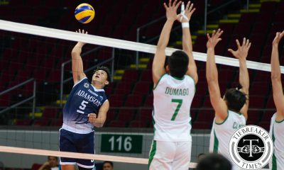Tiebreaker Times Falcons earn deuce-filled four setter over Green Spikers AdU DLSU News UAAP Volleyball  UAAP Season 78 Men's Volleyball UAAP Season 78 Raymark Woo Pao Pablico Mike Sudaria Jerome Sarmiento Domeng custodio DLSU Men's Volleyball Team Cris Dumago Arjay Onia AdU Men's Volleyball Team