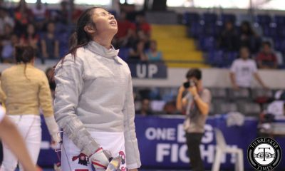 Tiebreaker Times Golden finish: Women's sabre team seal UE's domination ADMU DLSU Fencing FEU News UAAP UE UP UST  UAAP Season 78 Fencing Tournament UAAP Season 78 Nicole Lanon Nicole Cortey Maylene Pailma Keren Pangilinan Justine Tinio Cherie Manago