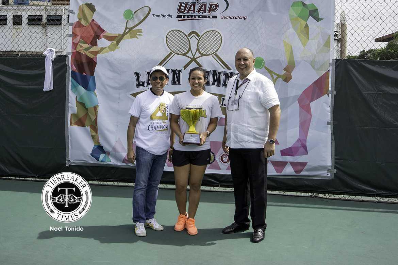 Philippine Sports News - Tiebreaker Times Patrimonio overjoyed after sealing Women's Tennis Three-peat for NU News NU Tennis UAAP  UAAP Season 78 Tennis UAAP Season 78 NU Women's Tennis Christine Patrimonio