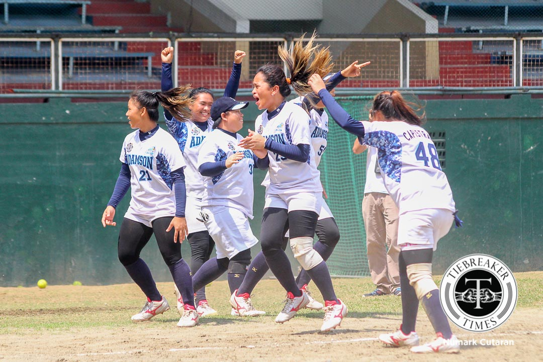 Tiebreaker Times Adamson bounces back in 6th, advances to 6th straight Finals AdU News Softball UAAP UP  UP Softball UAAP Season 78 Softball UAAP Season 78 Final Four UAAP Season 78 Riflayca Basa Riezel Calumbres Lorna Adorable Kier Ferrer Cochise Diolata Chanty Bongat Ana Santiago Alex Causapin Adamson Softball