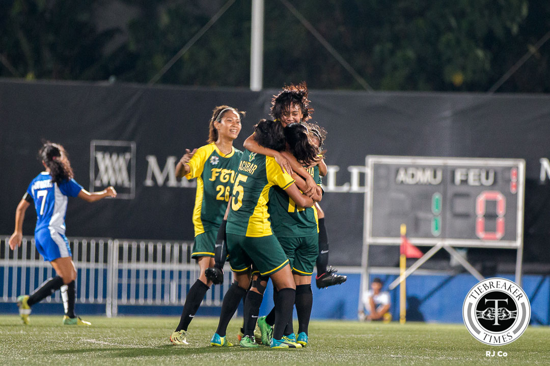 Tiebreaker Times FEU rekindles season with comeback win over Ateneo ADMU FEU Football News UAAP  UAAP Season 78 Women's Football Tournament UAAP Season 78 Paulina Naguiat Nona Amoncio Marie Lacera Mariane Caparros Let Dimzon Kim Parina Julia Sucgang Jovelle Sudaria FEU Women's Football Team Cam Rodriguez Brigette Kadil Barbie Sobredo Ateneo Women's Football Team