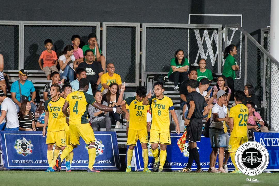 Tiebreaker Times FEU starts second round with win over ten men La Salle DLSU FEU Football News UAAP  Val Jurao UAAP Season 78 Men's Football Tournament UAAP Season 78 RJ Joyel Rico Andes Paolo Bugas Paeng De Guzman Noel Brago Nicko Villacin Nicholas Ferrer Jose Montelibano Jhoguev Ybañez Jed Diamante Hans-Peter Smit Greggy Yang Gerald Layumas Gelo Diamante FEU Men's Football Team Eric Ben Giganto Dominique Canonigo DLSU Men's Football Team DLSU Green Archers Audie Menzi