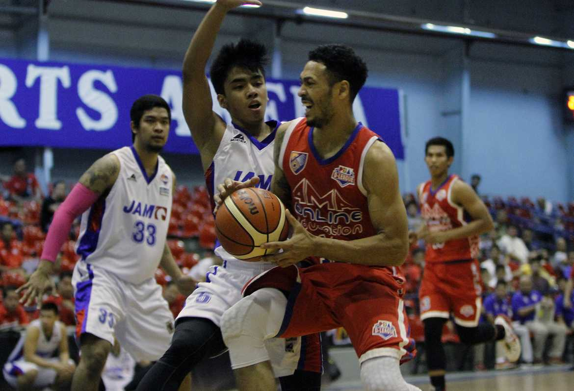 Tiebreaker Times UP-QRS/Jam Liner battles back to beat AMA, claims twice-to-beat Basketball News PBA D-League UP  UP-QRS/Jam Liner Maroons Raymond Aguilar Raul Soyud Rashawn McCarthy Mark Herrera Kevin Ferrer Joe Ward Jerramy King Jammer Jamito AMA Online Education Titans 2016 PBA D-League Season 2016 PBA D-League Aspirants Cup
