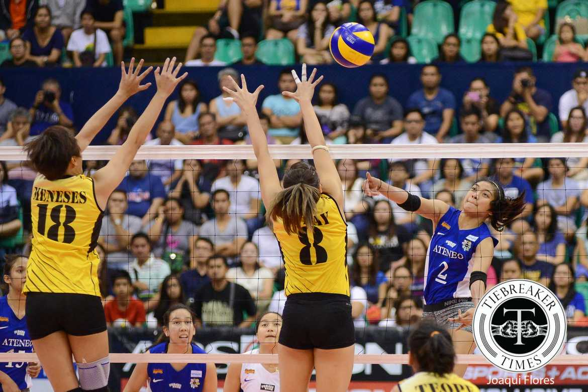 Tiebreaker Times Ateneo nails first win sans-Madayag, sweeps UST to clinch F4 spot ADMU News UAAP UST Volleyball  UST Women's Volleyball UAAP Season 78 Women's Volleyball UAAP Season 78 Tai Bundit Rica Rivera Ria Meneses Kungfu Reyes Jho Maraguinot Gizelle Tan EJ Laure Cherry Rondina Ateneo Women's Volleyball Amy Ahomiro Alyssa Valdez