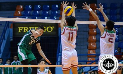 Tiebreaker Times La Salle earns elusive second win, douses UP DLSU News UAAP UP Volleyball  Wendel Miguel UP Men's Volleyball UAAP Season 78 Men's Volleyball UAAP Season 78 Raymark Woo Mark Millete Gerian Bacon DLSU Men's Volleyball Arjay Onia Alfred Valbuena