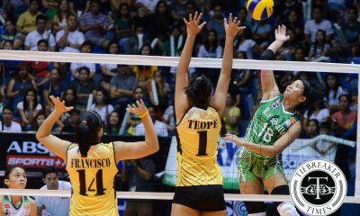 Tiebreaker Times Demecillo carried out of Arena after UP win DLSU News UAAP Volleyball  UAAP Season 78 Women's Volleyball UAAP Season 78 Ramil De Jesus DLSU Women's Volleyball Cyd Demecillo