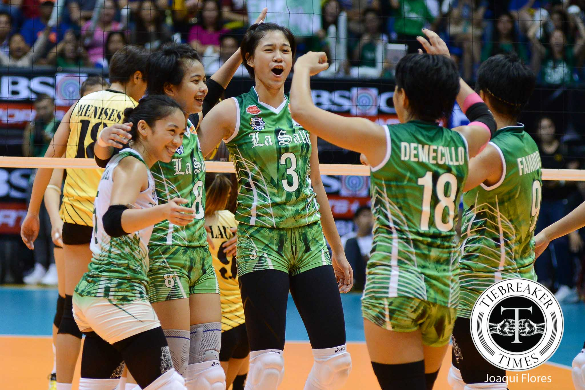 Tiebreaker Times La Salle avenges first round upset, crushes UST DLSU UAAP UST Volleyball  UST Tigresses UAAP Season 78 Women's Volleyball uaap Mika Reyes Kim Dy EJ Laure De La Salle University Lady Spikers Cherry Rondina Carmela Tunay Ara Galang