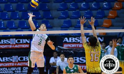 Tiebreaker Times Woo's 33 tows La Salle past UST DLSU News UAAP UST Volleyball  UST Men's Volleyball UAAP Season 78 Men's Volleyball UAAP Season 78 Ron Dulay Raymark Woo Odjie Mamon Mark Pangan MAnuel Medina Levin Dimayuga Jason Sarabia Geuel Asia DLSU Men's Volleyball Arnold Bautista Arjay Onia