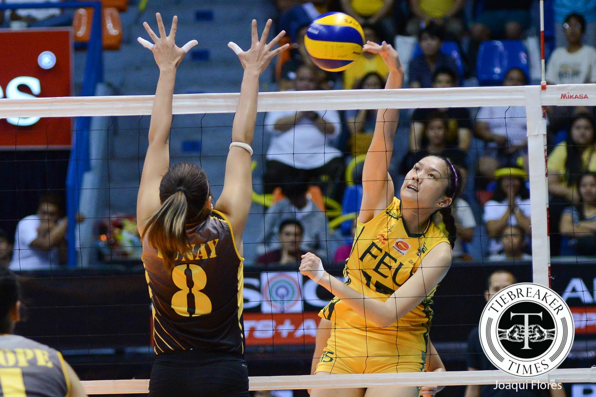 Tiebreaker Times FEU drops UST, gains vital cushion for Final Four push News NU UAAP UP Volleyball  UST Women's Volleyball UAAP Season 78 Women's Volleyball UAAP Season 78 Toni Basas Shaq delos Santos RJ Rivera Ria Duremdes Mela Tunay Kung Fu Reyes Jerrili Malabanan FEU Women's Volleyball EJ Laure Chery Rondina Bernadeth Pons