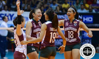 Tiebreaker Times Lady Maroons buck slow start, beats Lady Falcons in Domingo's debut AdU UAAP UP Volleyball  UP Lady Maroons UAAP Season 78 Women's Volleyball uaap Mylene Paat May Roque Kathy Bersola Jemma Galanza Isa Molde Diana Carlos AdU Women's Volleyball