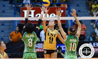 Tiebreaker Times Tigresses join UST upset party, upend Lady Spikers DLSU News UAAP UST Volleyball  UST Women's Volleyball UAAP Season 78 Women's Volleyball UAAP Season 78 Ramil De Jesus Mika Reyes Majoy Baron Kung Fu Reyes Jessey De Leon EJ Laure DLSU Women's Volleyball Cherry Rondina Ara Galang