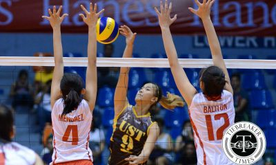 Tiebreaker Times UST improves record with triumph over UE News UAAP UE UST Volleyball  UST Women's Volleyball UE Women's Volleyball UAAP Season 78 Women's Volleyball UAAP Season 78 Shaya Adorador Marivic Meneses Kung Fu Reyes Judith Abil Francis Vicente EJ Laure Cherry Rondina Celine Domingo