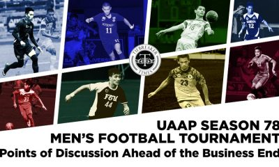Tiebreaker Times UAAP Men's Football Tournament: Points of Discussion Ahead of the Business End ADMU AdU DLSU FEU Football NU UAAP UE UP UST  UST Men's Football Team UP Men's Football Team UE Men's Football Team UAAP Season 78 Football UAAP Season 78 Ryan Marinay Rigoberto Joseph Paolo Salenga NU Men's Football Team Nico Macapal Nano Amita Masyu Yoshioka Marjo Allado Lem Laranas Kenneth James Kendall Colet JP Oracion JP Merida Joseph Poe Jose Montelibano Jay Abalunan Javier Gayoso FEU Men's Football Team DLSU Men's Football Team Daniel Gadia Carlos Monfort Bon Opeña Bless Brian Jumo II Bless Brian Jumo I Ateneo Men's Football Team Anto Gonzales Adamson Men's Football Team