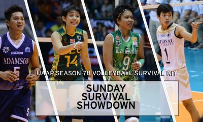 Tiebreaker Times Survival Kit: Sunday Survival Showdown AdU Bandwagon Wire DLSU FEU NU Volleyball  Vince Mangulabnan UAAP Sesaon 78 UAAP Season 78 Women's Volleyball UAAP Season 78 Men's Volleyball Remy Palma Mika Reyes Madz Gampong Kim Fajardo Gyzelle Sy FEU Women's Volleyball DLSU Women's Volleyball. NU Men's Volleyball Bryan Bagunas Bernadeth Pons Ara Galang AdU Men's Volleyball
