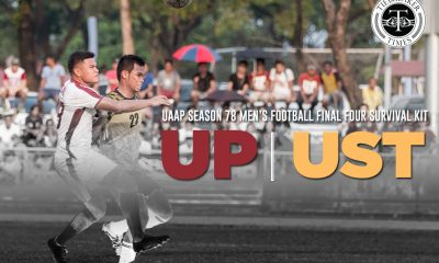 Tiebreaker Times UAAP S 78 Men's Football Final Four Survival Kit: UP vs UST Bandwagon Wire Football UAAP UP UST  Zaldy Abraham UST Men's Football Team UP Men's Football Team UAAP Season 78 Men's Football Tournament UAAP Season 78 Ronald Batisla-Ong Patxi Santos Niño Muros Marjo Allado Karl Bronda Jayson Rafol Ian Clarino Daniel Gadia Anto Gonzales Ace Villanueva