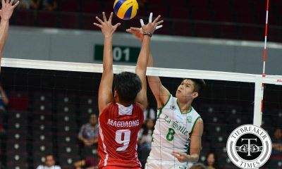 Tiebreaker Times La Salle sends UE reeling to another winless season DLSU News UAAP UE Volleyball  UE Men's Volleyball UAAP Season 78 Men's Volleyball UAAP Season 78 Ruvince Abrot Ruel Pascual Ronald Dulay Raymark Woo Noel Alba Jopet Movido Edward Camposano DLSU Men's Volleyball Cris Dumago Arjay Onia