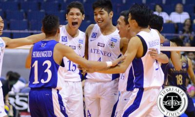 Tiebreaker Times Blue Eagles near repeat after demolishing Bulldogs ADMU News NU UAAP Volleyball  UAAP Season 78 Men's Volleyball UAAP Season 78 Ruben Baysac Ricky Marcos Rex Intal Oliver Almadro NU Men's Volleyball Marck Espejo Manuel Sumanguid Kim Malabunga James Natividad Ish Polvorosa Dante Alinsunurin Ateneo Men's Volleyball