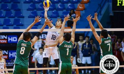 Tiebreaker Times Bulldogs dig deep, squash Green Spikers in 5 sets DLSU News NU UAAP Volleyball  UAAP Season 78 Men's Volleyball UAAP Season 78 Ruben Baysac Ronald Dulay Ricky Marcos Raymark Woo NU Men's Volleyball Madz Gampong Jopet Movido DLSU Green Spikers Dante Alinsunurin Cris Dumago Arjay Onia