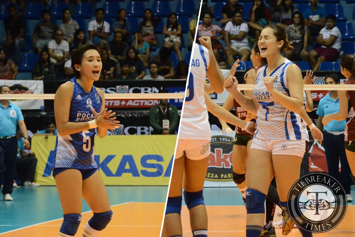 Tiebreaker Times Gumabao, Gohing stay loyal to Pocari Sweat amid Lady Spiker reunion News PVL Volleyball  Pocari Sweat Lady Warriors Michele Gumabao Melissa Gohing F2 Logistics Cargo Movers DLSU Women's Volleyball 2016 SVL Season 2016 SVL Open Conference