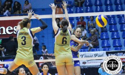 Tiebreaker Times Air Force bounces back in 5-set win over National U News NU PVL Volleyball  Roger Gorayeb Risa Sato NU Women's Volleyball Mae Crisostomo Joy Cases Jasper Jimenez Jasmin Nabor Jaja Santiago Gayle Valdez Camille Abanto Air Force Jet Spikers 2016 SVL Season 2016 SVL Open Conference