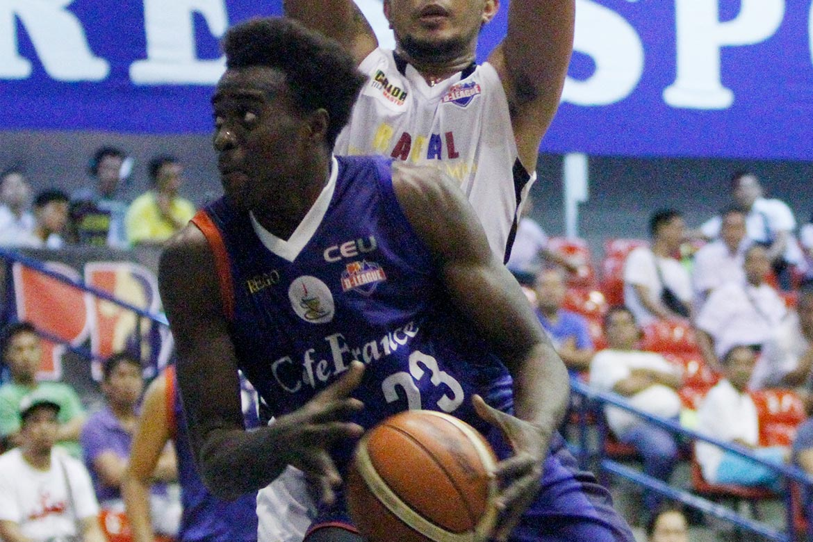 Tiebreaker Times Ebondo shows might in Cafe France win over Racal Basketball News PBA D-League  Rod Ebondo Racal Tile Masters Philip Paniamogan Mon Abundo Jonathan Grey Egay Macaraya Chris Javier Carl Cruz Caloy Garcia Cafe France Bakers 2016 PBA D-League Season 2016 PBA D-League Foundation Cup