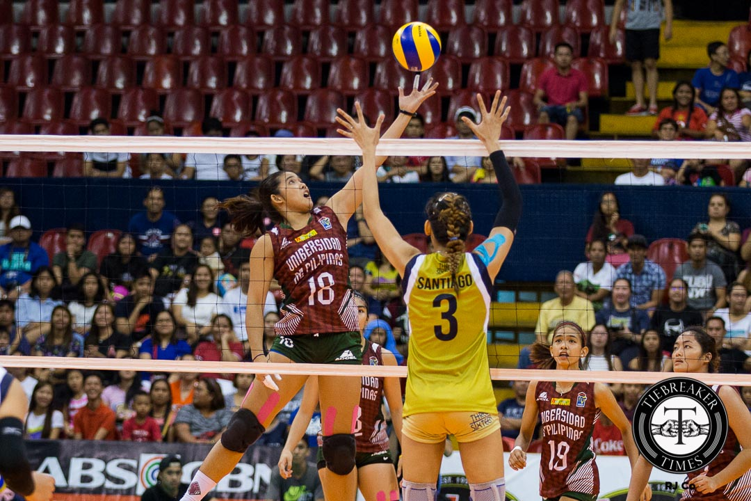 Philippine Sports News - Tiebreaker Times Carlos compiles career game in the middle position News PVL UP Volleyball  UP Lady Maroons Diana Carlos 2016 Shakey's V-League Open Conference
