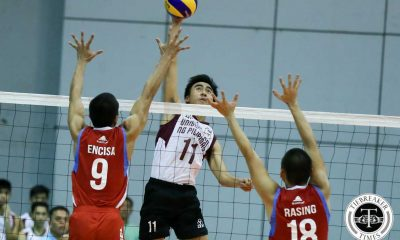 Tiebreaker Times Maroons fight off Generals to open campaign on high note EAC News PVL UP Volleyball  Wilhelm Luna Wendell Miguel UP Men's Volleyball Rod Palmero Obet Santos Mac Millete Kerth Melliza Jara Franklin Israel Encina EAC Men's Volleyball Charles Acuna Alfred Valbuena 2016 Spikers Turf Season 2016 Spikers Turf Collegiate Conference