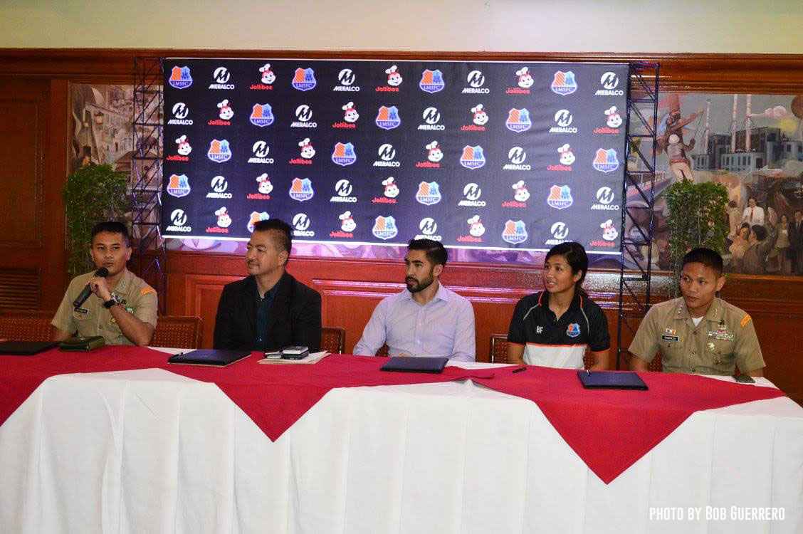 Tiebreaker Times Meralco, Philippine Marine Corps strengthen partnership for Football For Peace Football News  Loyola Meralco Sparks FC Football For Peace Belay Fernando