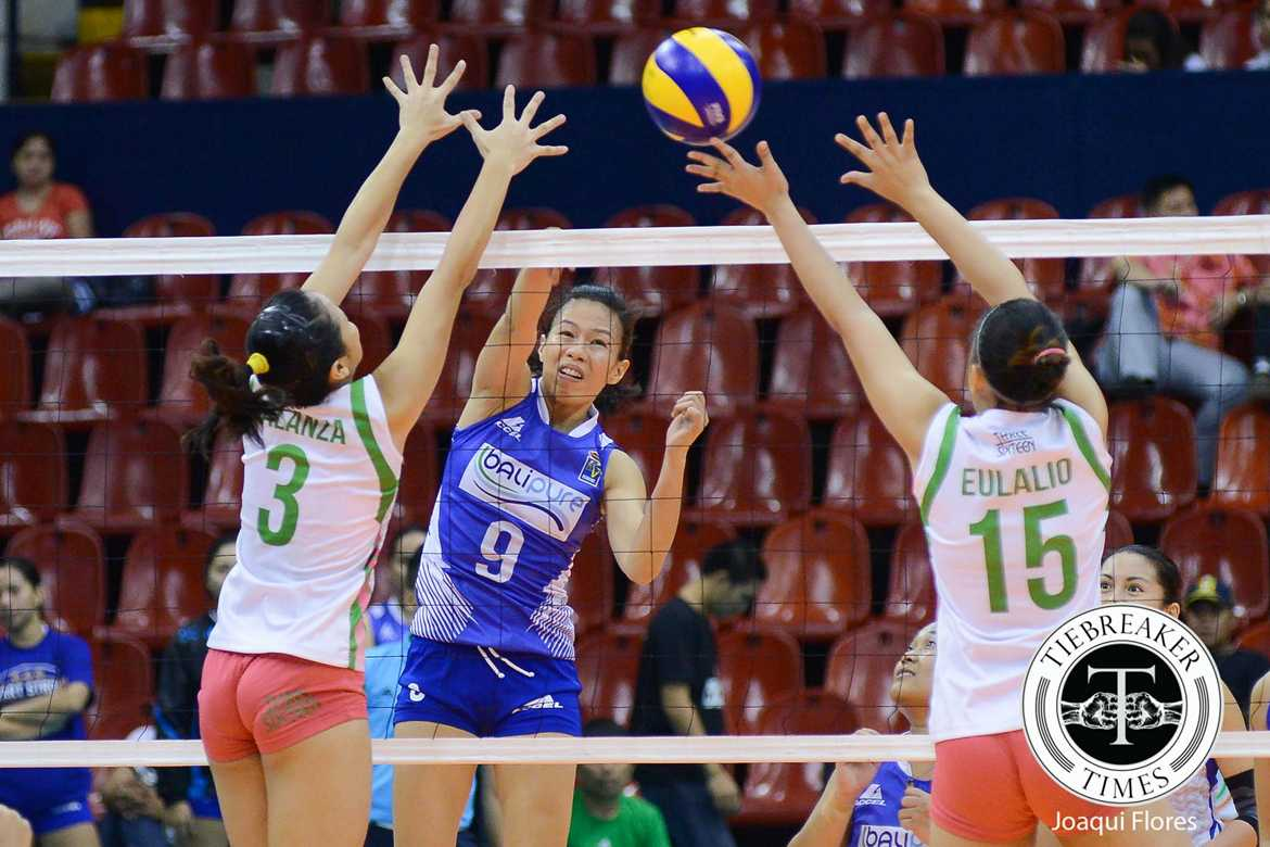 Tiebreaker Times Marciano steps up for Bali Pure sans Valdez to take Game 1 News PVL Volleyball  Nes Pamilar Mylene Paat Laoag Power Smashers Jovielyn Prado Jema Galanza Grethcel Soltones Denden Lazaro Chi Saet Charo Soriano Bali Pure Purest Water Defenders Amy Ahomiro 2016 SVL Season 2016 SVL Open Conference