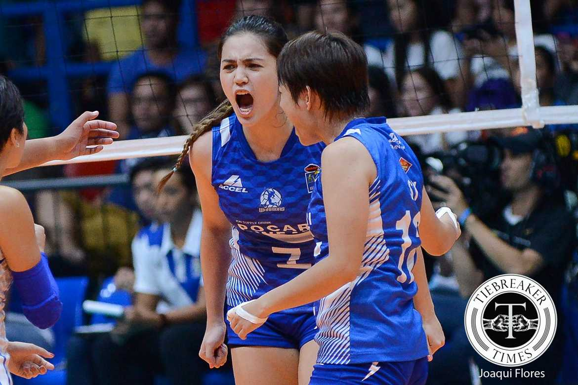 Tiebreaker Times Gumabao glad Pocari won Game One for a change News PVL Volleyball  Pocari Sweat Lady Warriors Michele Gumabao 2016 SVL Season 2016 SVL Reinforced Conference