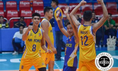 Tiebreaker Times Air Force overcomes rusty pace, books fourth straight win over IEM News PVL Volleyball  Rhovel Verayo Reyson Fuentes Louie Chavez Khenno Franco Jessie Lopez IEM Volley Masters Howard Mojica Ernesto Balubar Edwin Tolentino Air Force Airmen 2016 Spikers Turf Season 2016 Spikers Turf Reinforced Conference
