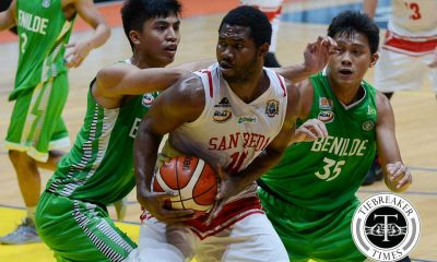 Tiebreaker Times San Beda pounces on hapless Saint Benilde Basketball CSB NCAA News SBC  San Beda Seniors Basketball NCAA Season 92 Seniors Basketball NCAA Season 92 Jamike Jarin Gabby Velasco Franz Pasamante Donald Tankoua Davon Potts Dan Sara Christian Fajarito Carlo Young Benilde Seniors Basketball