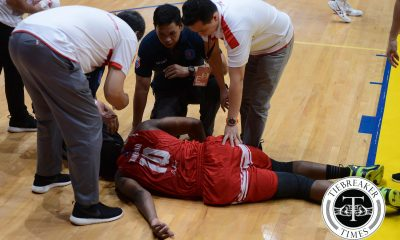 Tiebreaker Times Tankoua tears ACL, ruled out for the season Basketball NCAA News SBC  San Beda Seniors Basketball NCAA Season 92 Seniors Basketball NCAA Season 92 Donald Tankoua