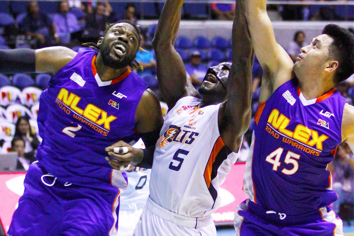 Tiebreaker Times Durham's 31 helps Meralco shrug pesky NLEX for fifth win Basketball News PBA  Sean Anthony PBA Season 41 Norman Black NLEX Road Warriors Meralco Bolts Jared Dillinger Henry Walker Emman Monfort Chris Newsome Boyet Fernandez Allen Durham 2016 PBA Governors Cup