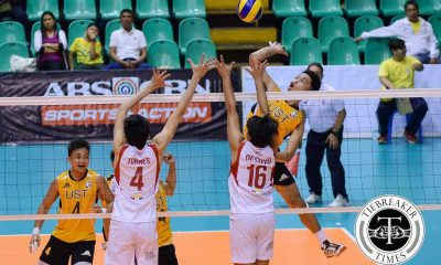 Tiebreaker Times Tigers roar past Lions for second win News PVL SBC UST Volleyball  UST Men's Volleyball Timothy Tajanlangit San Beda Men's Volleyball Odjie Mamon MAnuel Medina Lester Sawal Jose Roque Jomaru Amagan Berlin Paglinawan Alfie Mascarinas 2016 Spikers Turf Season 2016 Spikers Turf Collegiate Conference
