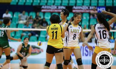 Tiebreaker Times Eya Laure shines anew, leads UST over Benilde CSB News PVL UST Volleyball  UST Women's Volleyball Patricia Rasmo Michael Carino Kungfu Reyes Jeanette Panaga Jannine Navarro Eya Laure EJ Laure Cherry Rondina Benilde Women's Volleyball Almar Bicar 2016 SVL Season 2016 SVL Collegiate Conference