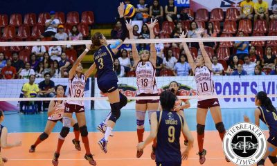 Tiebreaker Times Lady Bulldogs take down Lady Maroons anew to gain series lead News NU PVL UP Volleyball  UP Women's Volleyball Team NU Women's Volleyball Nicole Tiamzon Jorelle Singh Jerry Yee Jasmin Nabor Jaja Santiago Isa Molde Gayler Valdez Edjet Mabbayad Aiko Urdas 2016 SVL Season 2016 SVL Collegiate Conference