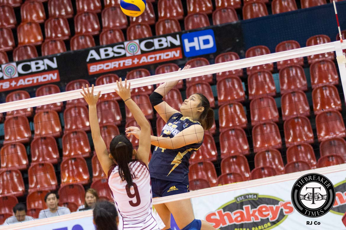 Tiebreaker Times Santiago-less Lady Bulldogs stay perfect after pounding Lady Altas News NU PVL UPHSD Volleyball  Sammy Acaylar Roselyn Doria Risa Sato Perpetual Women's Volleyball NU Women's Volleyball Team Lourdes Clemente Jasmine Nabor Gayle Valdez Edjet Mabbayad Coleen Bravo Aiko Urdas 2016 SVL Season 2016 SVL Collegiate Conference