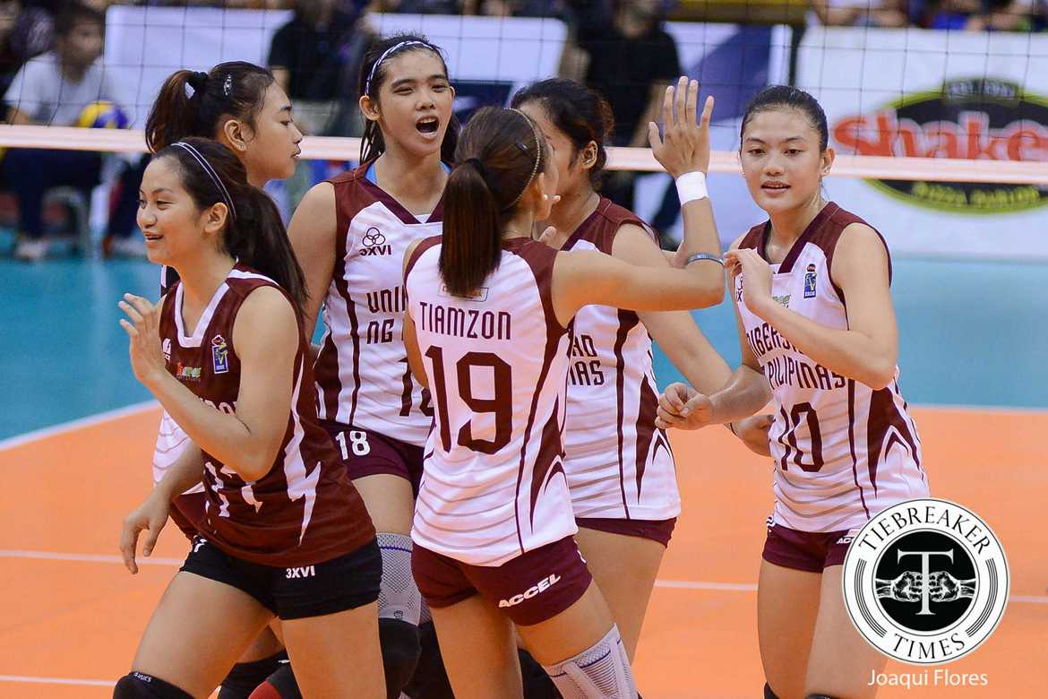 Tiebreaker Times Lady Maroons earn first win, sink Lady Dolphins News PVL UP Volleyball  UP Women's Volleyball Tots Carlos Rose Cailing Pia Gaiser Nicole Tiamzon Jerry Yee Grenlen Malapit Coast Guard Lady Dolphins 2016 SVL Season 2016 SVL Reinforced Conference