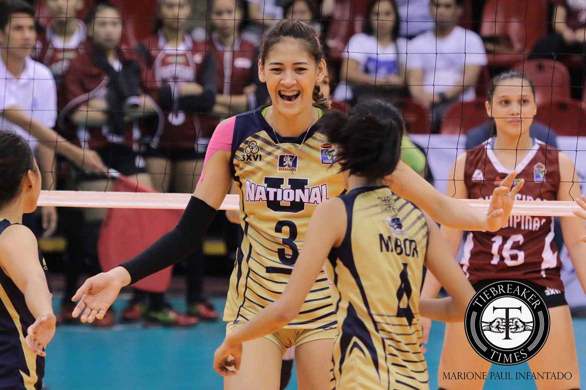 Tiebreaker Times Santiago stars as NU books return trip to Finals News NU PVL UP Volleyball  UP Women's Volleyball NU Women's Volleyball Nicole Tiamzon Jorelle Singh Jerry Yee Jasmin Nabor Jaja Santiago Isa Molde Gayle Valdez Edjet Mabbayad Diana Carlos Aiko Urdas 2016 SVL Season 2016 SVL Collegiate Conference
