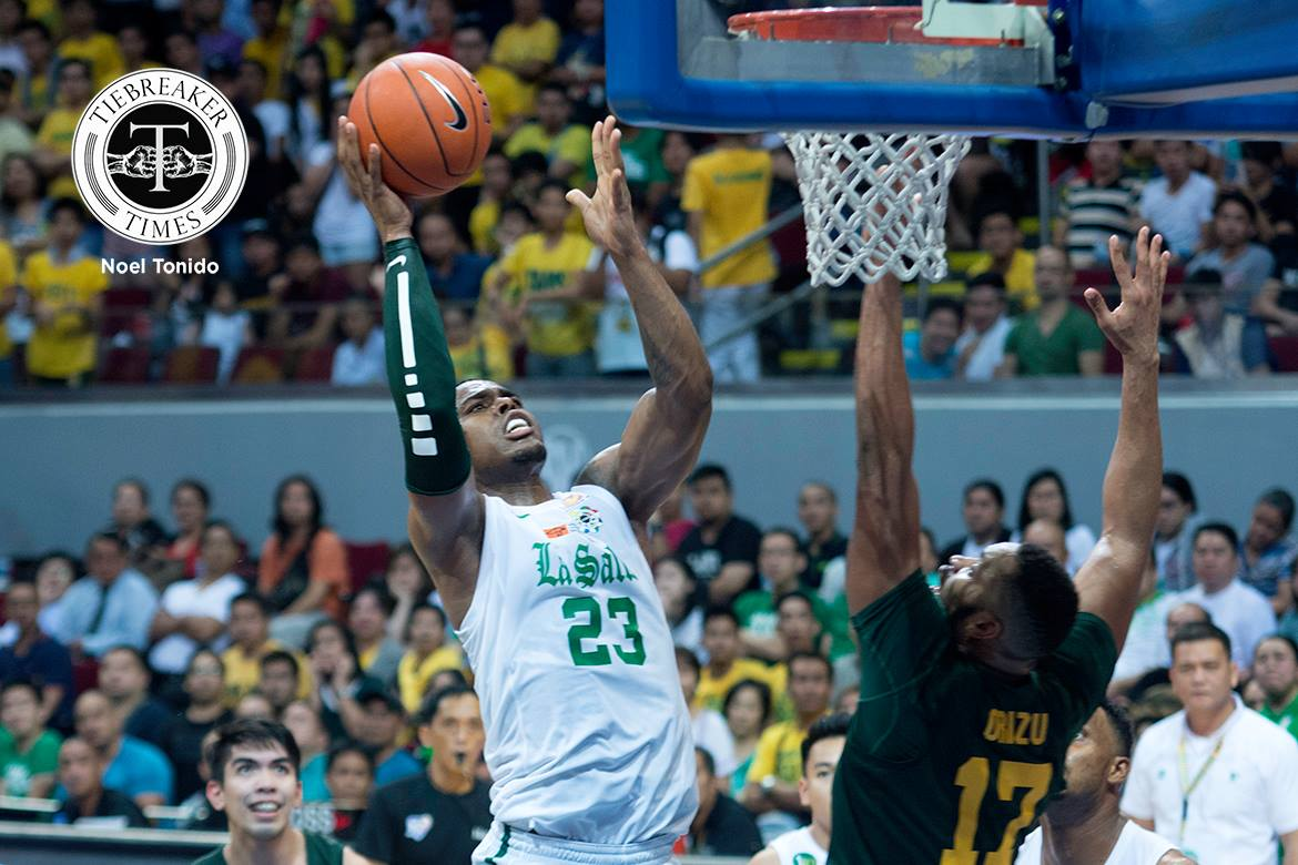 Tiebreaker Times Player of the Week Mbala still far from being satisfied Basketball DLSU News UAAP  UAAP Season 79 Men's Basketball UAAP Season 79 UAAP Player of the Week Renzo Subido Jerrick Ahanmisi DLSU Men's Basketball Ben Mbala Alfred Aroga