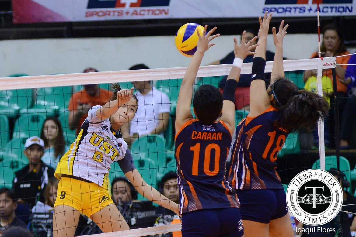 Tiebreaker Times Tigresses devour Coast Guard, post second win News PVL UST Volleyball  UST Women's Volleyball Samantha Dawson Patricia Rasmo Pam Lastimosa Kungfu Reyes Gilbert Odron EJ Laure Coast Guard Lady Dolphins Alex Cabanos 2016 SVL Season 2016 SVL Reinforced Conference