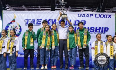 Tiebreaker Times DLSU Green Jins take home first Poomsae crown DLSU FEU News Taekwondo UAAP UP UST  UST Women's Taekwondo UST Men's Taekwondo UP Women's Taekwondo UP Men's Taekwondo UAAP Season 79 Taekwondo UAAP Season 79 Rodolfo Reyes Rinna Babanto Raphael Mella Kristi Hernandez JP Sabido Jeanisse Jubelag Janna Oliva FEU Women's Taekwondo DLSU Men's Taekwondo Angelica Gaw Aina Callos Adrian Ang
