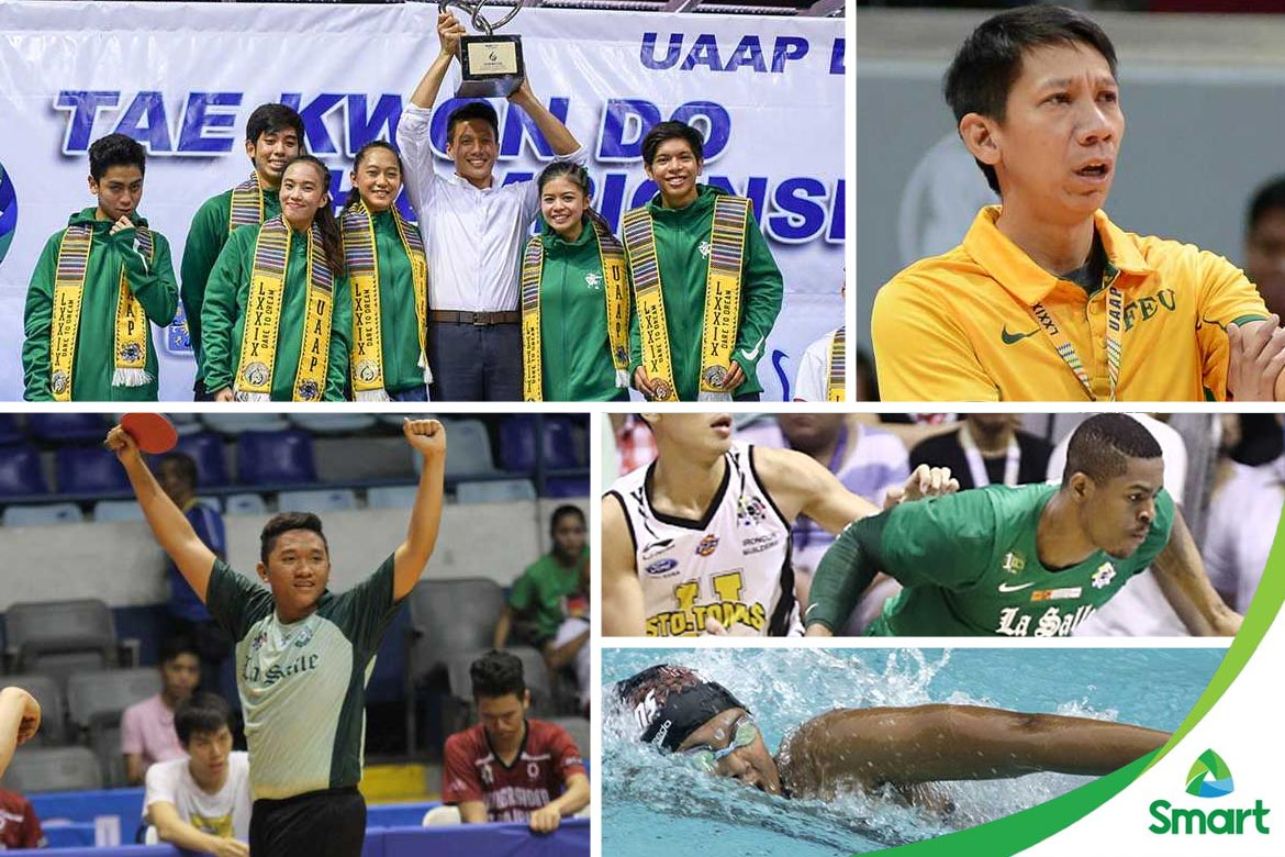 Tiebreaker Times SMART-UAAP Round-Up: La Salle comes marching in ADMU Basketball DLSU FEU News Swimming Table Tennis Taekwondo UAAP UP UST  UST Men's Basketball UP Women's Swimming UAAP Season 79 Women's Swimming UAAP Season 79 Taekwondo UAAP Season 79 Men's Table Tennis UAAP Season 79 Men's Basketball UAAP Season 79 Tarak Cabrido Rinna Babanto Raphael Mella Ralph Nones Nathan Siasico Nash Racela McAvyngyr Alob Kristi Hernandez JP Sabido Jeremy Ruiz FEU Men's Basketball Ermar Eder DLSU Women's Taekwondo DLSU Men's Taekwondo DLSU Men's Table Tennis DLSU Men's Basketball Daniel Ocon Boy Sbalan Benjamin Sembrano Ateneo Women's Swimming Angelica Gaw Aldin Ayo