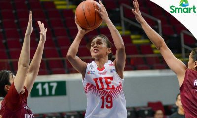 Tiebreaker Times UE maintains hunt for twice-to-beat advantage with win over UP Basketball News UAAP UE UP  UP Women's Basketball UE Women's Basketball UAAP Season 79 Women's Basketball UAAP Season 79 Ruthlaine Tacula Maan Wong Love Sto. Domingo Kenneth Raval Eunique Chan Aileen Lebornio