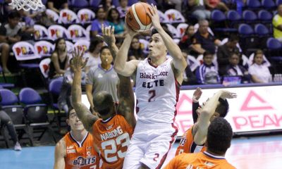Tiebreaker Times Belo, Miranda lift Blackwater to 2-0 in escape win over Meralco Basketball News PBA  PBA Season 42 Norman Black Meralco Bolts Mac Belo Leo Isaac Kyle Pascual Jonathan Grey Denok Miranda Cliff Hodge Chris Newsome Blackwater Elite 2016-17 PBA All Filipino Conference
