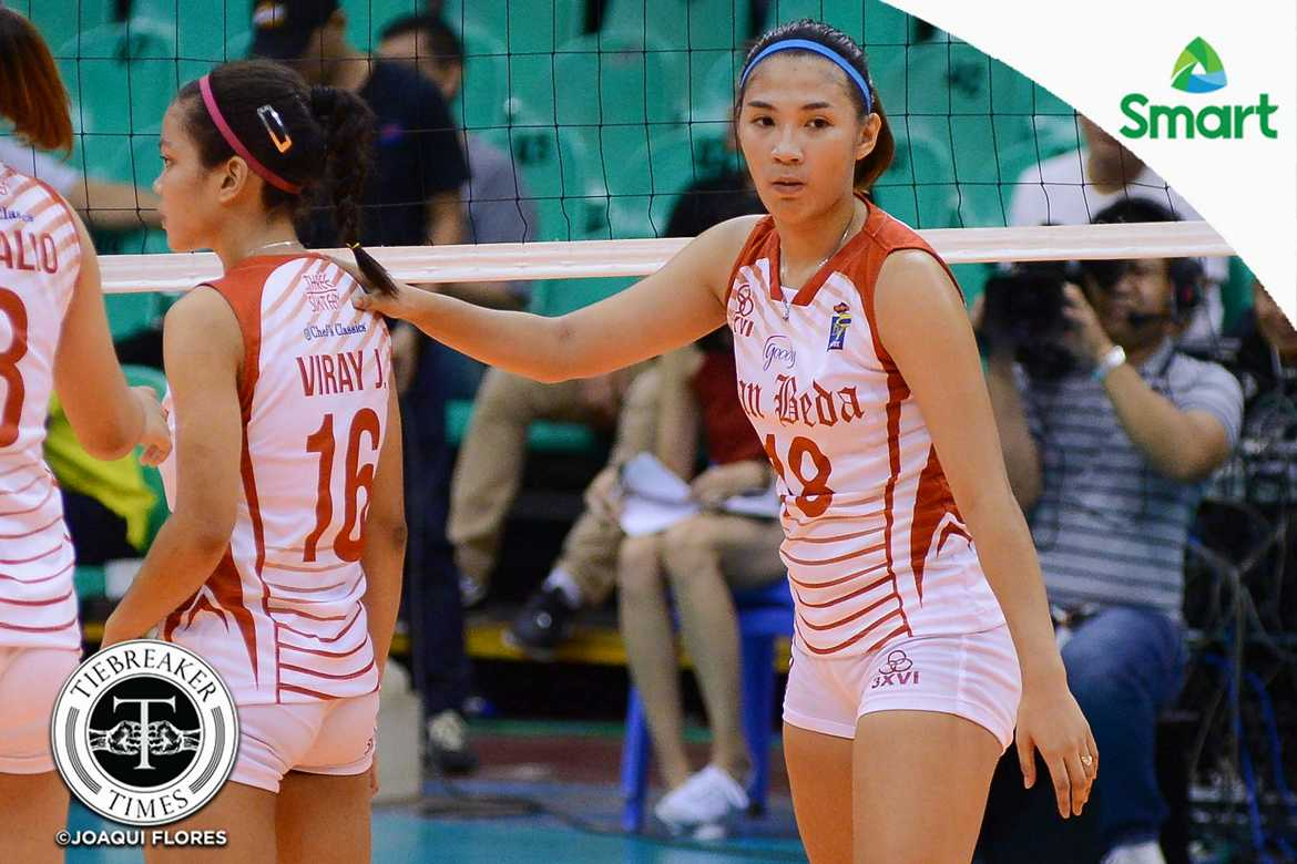 Tiebreaker Times Retooled Lady Red Spikers wallop Lady Generals EAC NCAA News SBC Volleyball  San Beda Women's Volleyball Rebecca Cuevas Nemesio Gavino Leo Rivera Jeziela Viray Francesca Racraquin EAC Women's Volleyball Daryl Racraquin 2016 SVL Season 2016 SVL Reinforced Conference
